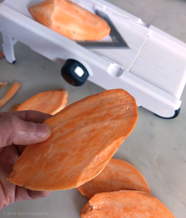 sweet potato slices from a mandolin slicer
